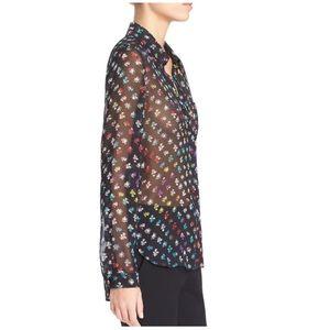 DVF 100% silk lorelei two floral chiffon blouse